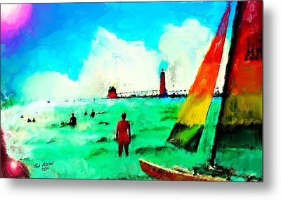 Metal Print featuring the painting Sunday At Grand Haven by Ted Azriel