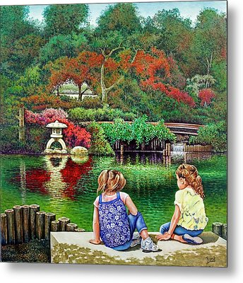 Metal Print featuring the painting Sunday At The Park by Michael Frank