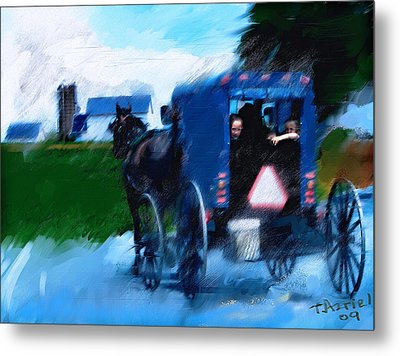Metal Print featuring the painting Sunday Buggy Ride by Ted Azriel