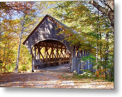 Sunday River Covered Bridge Metal Print by Jeff Folger