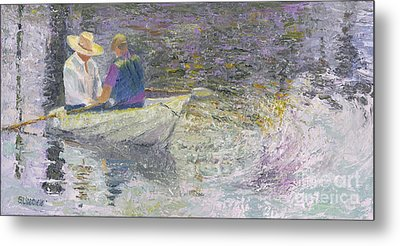 Metal Print featuring the painting Sunday Sailors by Sandy Linden