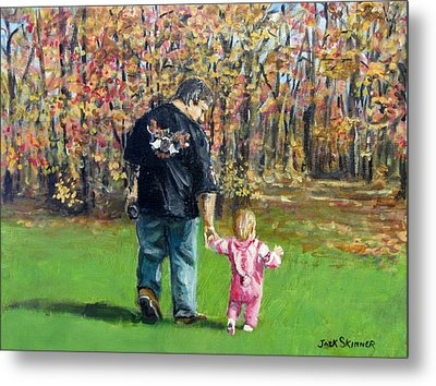 Sunday Walk With Dad Metal Print by Jack Skinner