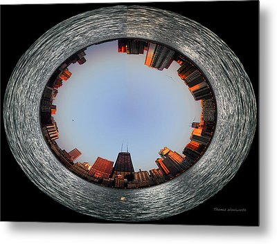 Sundown In The Chicago Canyons Polar View Metal Print by Thomas Woolworth