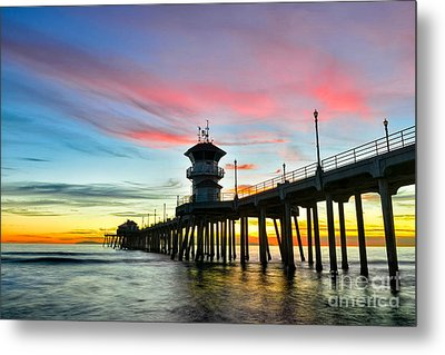 Sunet At Huntington Beach Pier Metal Print by Peter Dang