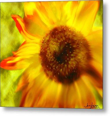 Metal Print featuring the digital art Sunflower-a-blaze by Janie Johnson