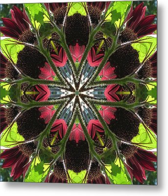 Sunflower And Green Leaf Metal Print