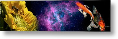 Sunflower And Koi Carp In Space Metal Print by Panoramic Images
