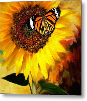 Sunflower And Butterfly Painting Metal Print by Lourry Legarde