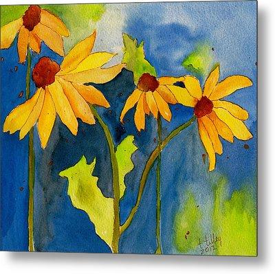 Sunflower Blue Watercolor Metal Print by Teresa Tilley