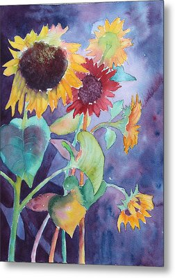 Metal Print featuring the painting Sunflower Color by Nancy Jolley