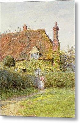 Sunflower Cottage Metal Print by Helen Allingham