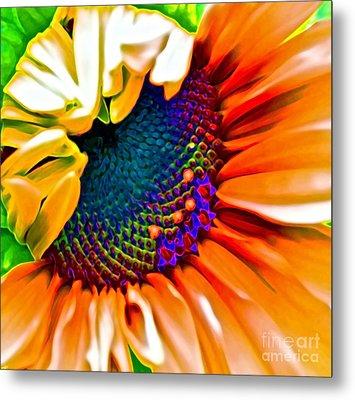 Sunflower Crazed Metal Print by Gwyn Newcombe