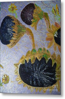 Sunflower Cycle Of Life 3 Metal Print by Vicky Tarcau