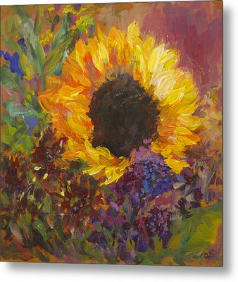 Sunflower Dance Original Painting Impressionist Metal Print by Quin Sweetman