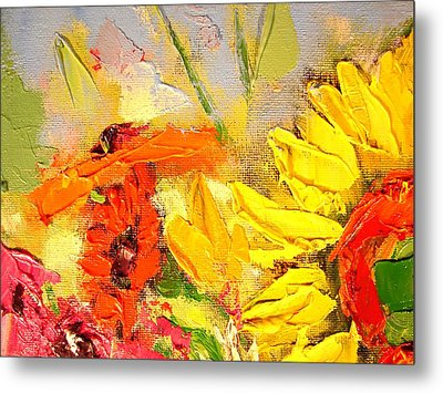 Metal Print featuring the painting Sunflower Detail by Ana Maria Edulescu