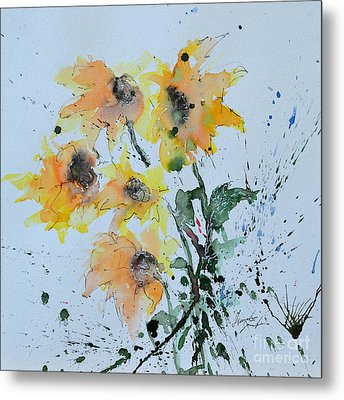 Sunflower- Flower Painting Metal Print by Ismeta Gruenwald