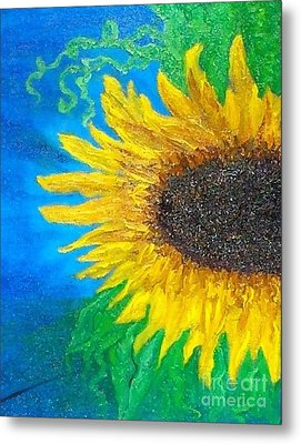 Metal Print featuring the painting Sunflower by Holly Martinson