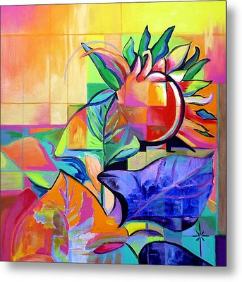 Metal Print featuring the painting Sunflower by Jodie Marie Anne Richardson Traugott          aka jm-ART