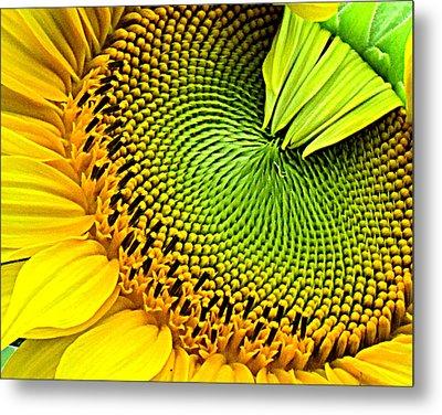 Sunflower Kaleidescope Metal Print