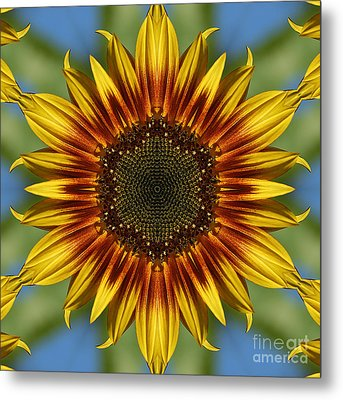 Sunflower Kaleidoscope Metal Print by Cindi Ressler