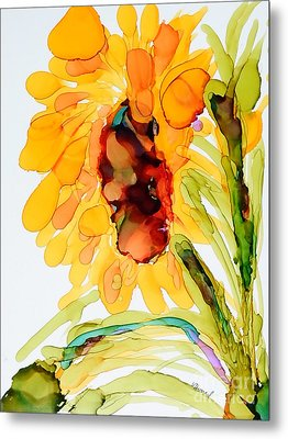 Sunflower Left Face Metal Print by Vicki  Housel