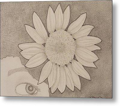 Sunflower Peeping Eye Metal Print by Aaron El-Amin
