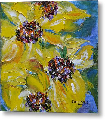 Metal Print featuring the painting Sunflower Quartet by Judith Rhue