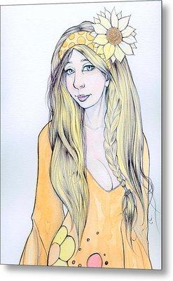 Sunflower Sara Metal Print