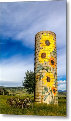 Sunflower Silo Metal Print