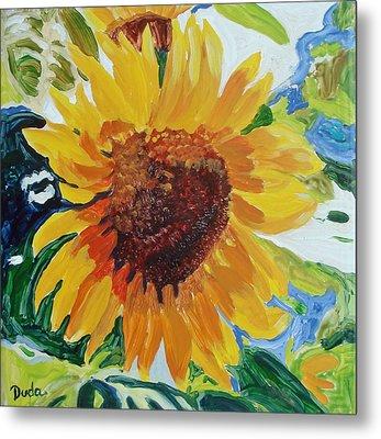 Sunflower Tile  Metal Print by Susan Duda
