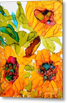 Sunflower Trio Metal Print by Vicki  Housel