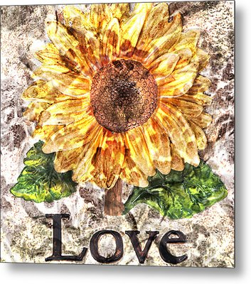 Sunflower With Hope And Love Metal Print