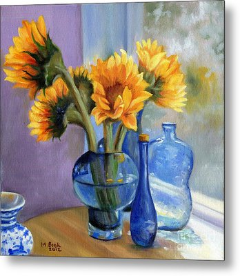 Sunflowers And Blue Bottles Metal Print