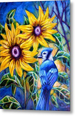 Sunflowers And Blue Jay Metal Print