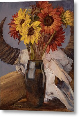 Sunflowers And Buffalo Skull Metal Print by Jane Thorpe