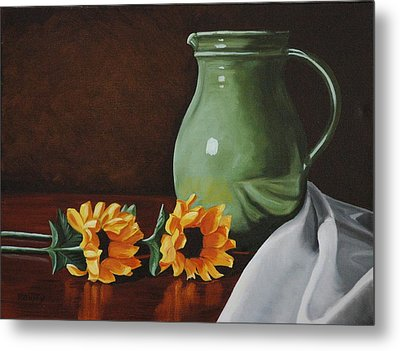 Sunflowers And Green Water Jug Metal Print by Daniel Kansky