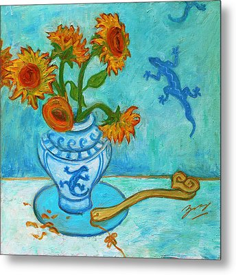 Metal Print featuring the painting Sunflowers And Lizards by Xueling Zou
