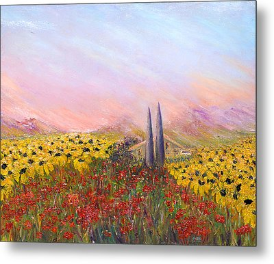 Sunflowers And Poppies Metal Print by Helen Kagan