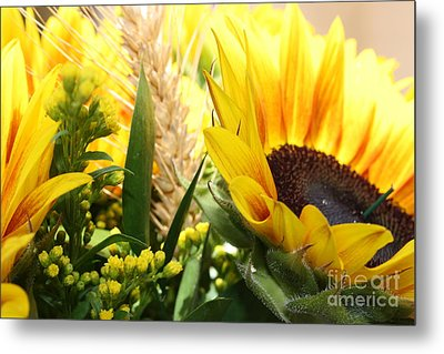Sunflowers And Wheat Metal Print