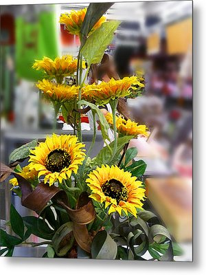 Sunflowers At The Market Florence Italy Metal Print by Irina Sztukowski