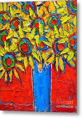 Sunflowers Bouquet In Blue Vase Metal Print by Ana Maria Edulescu