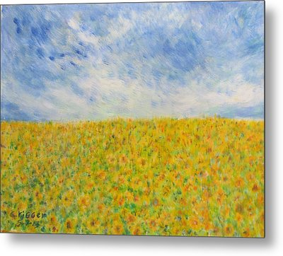 Sunflowers  Field In Texas Metal Print