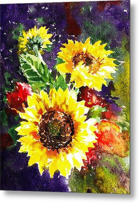 Metal Print featuring the painting Sunflowers Impressionism by Irina Sztukowski