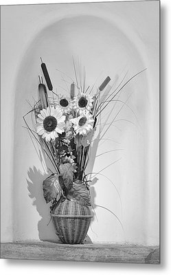 Sunflowers In A Basket Metal Print by Christine Till