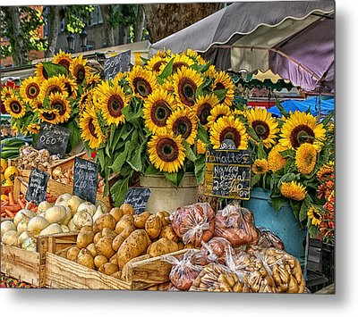 Sunflowers In A French Market Metal Print by Sandra Anderson