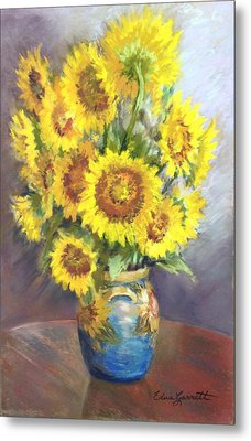 Sunflowers In A Sunflower Vase Metal Print