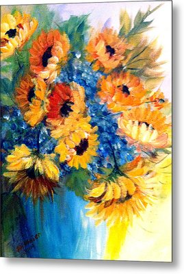 Sunflowers In A Vase Metal Print by Dorothy Maier