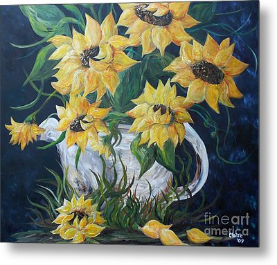 Sunflowers In An Antique Country Pot Metal Print by Eloise Schneider