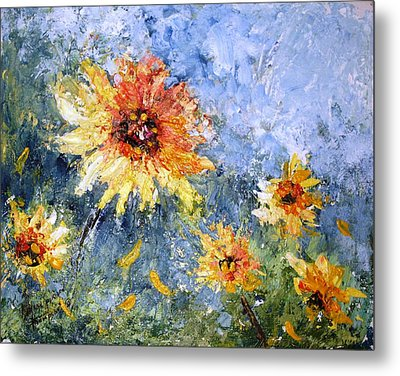 Sunflowers In Bloom Metal Print by Mary Spyridon Thompson