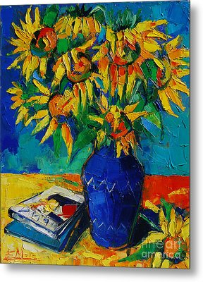 Sunflowers In Blue Vase Metal Print by Mona Edulesco